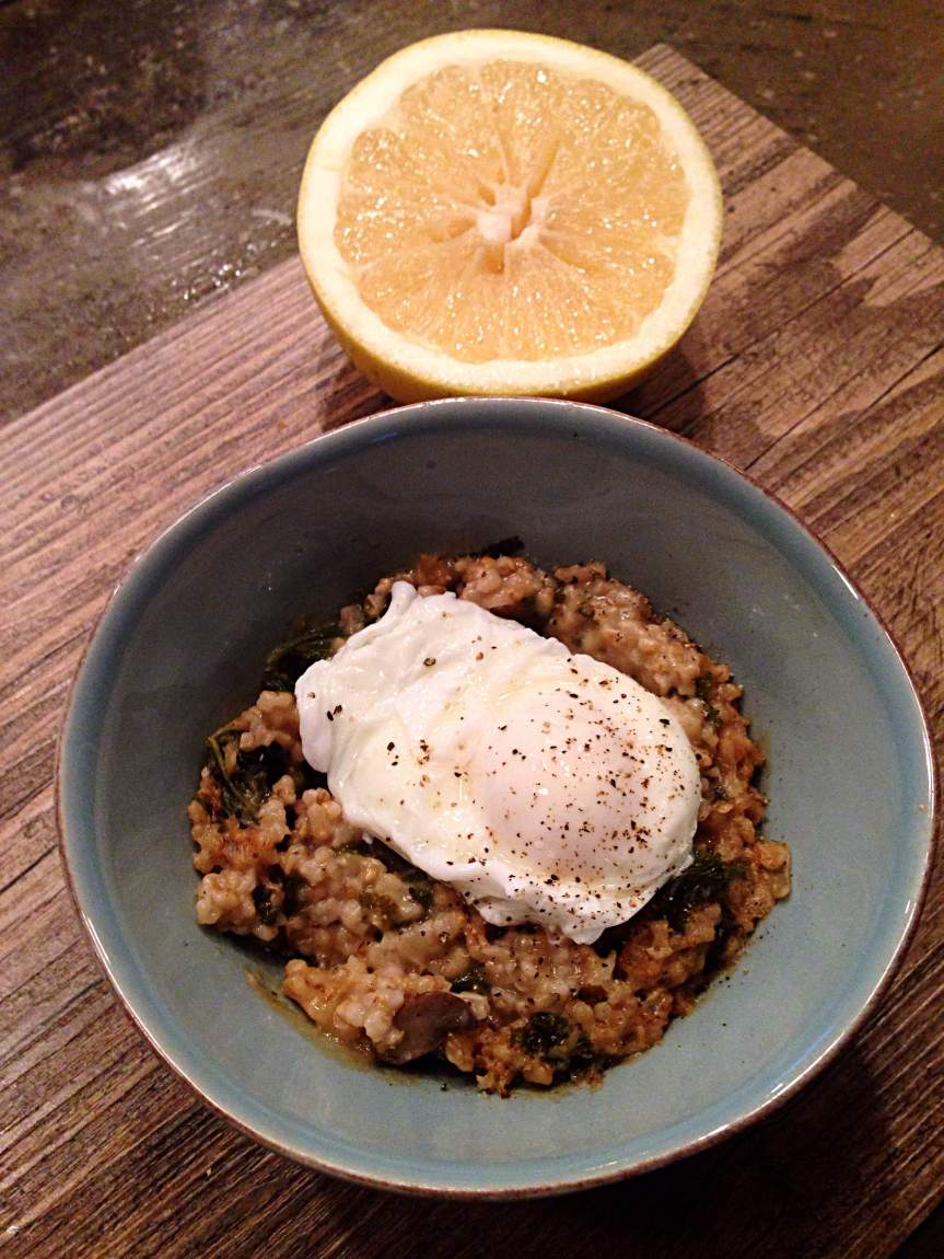 Steel Cut Oat Risotto With A Poached Egg