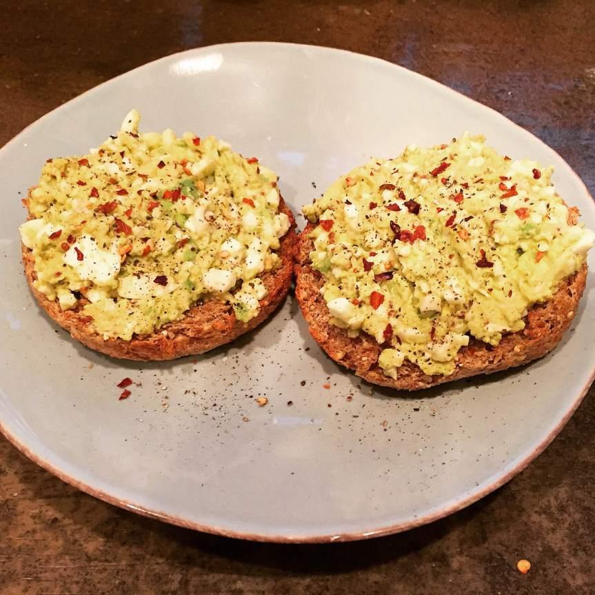 Avocado Egg Salad on an EnglishMuffin