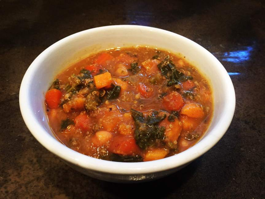 Spicy Quinoa, Carrot, Sweet Potato, Acorn Squash, White Bean and Kale Soup