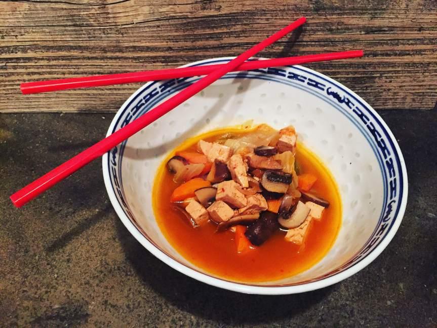 Spicy Tofu, Mushroom and KimchiSoup