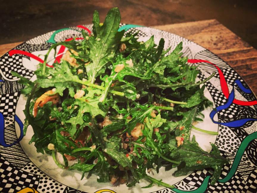 Roasted Parsnip, Farro and Walnut Kale Salad with a Lemony Dressing