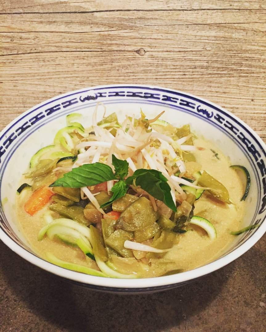 Spicy Red Curry, Lentil, and Zucchini Noodle Soup